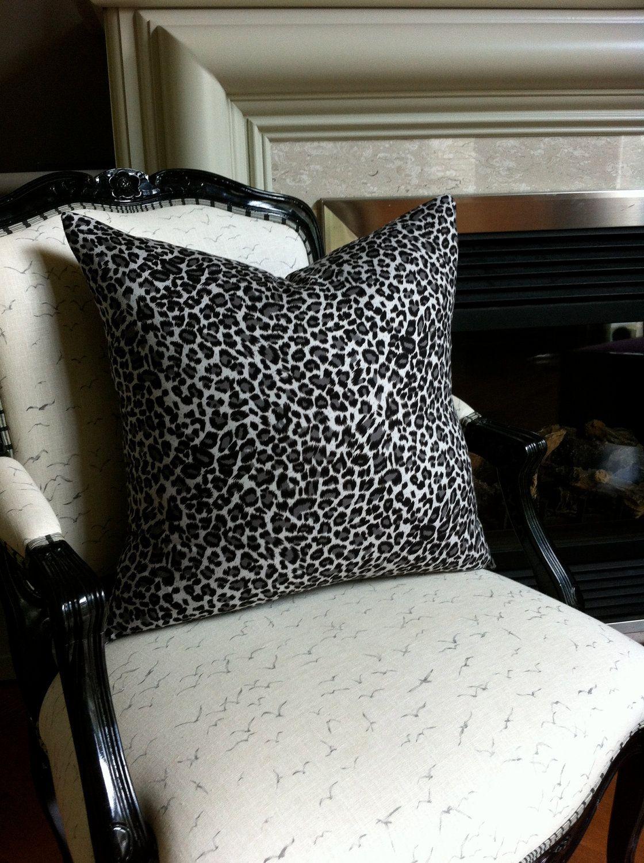White Grey Amp Black Leopard Print Throw Pillows