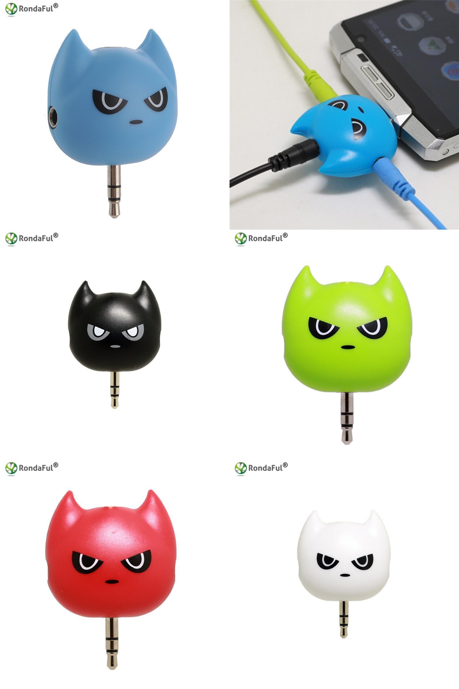 Visit To Buy 1piece Cute 3 Way Batman Earphone Audio Splitter 35mm 6 Ports Male 5 Female Jack Adapter