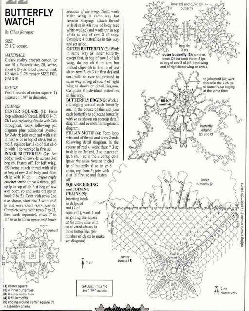 patrón de Tapete cuadrado con mariposas