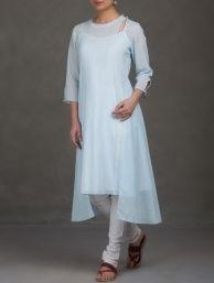 Buy Indigo Red Block Printed Pleated & Tie Up Detailed Cotton Kurta Women Kurtas Online at Jaypore.com