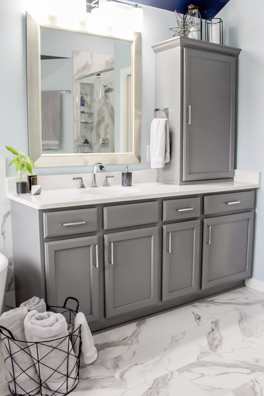 Modern Bathroom With Grey Cabinets Chrome Finishes Marble Tile Main Bathroom Grey Cabinets Modern Bathroom
