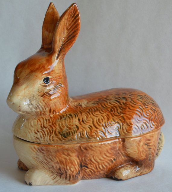 Authentic French Faience Rabbit Terrine by Michel Caugant
