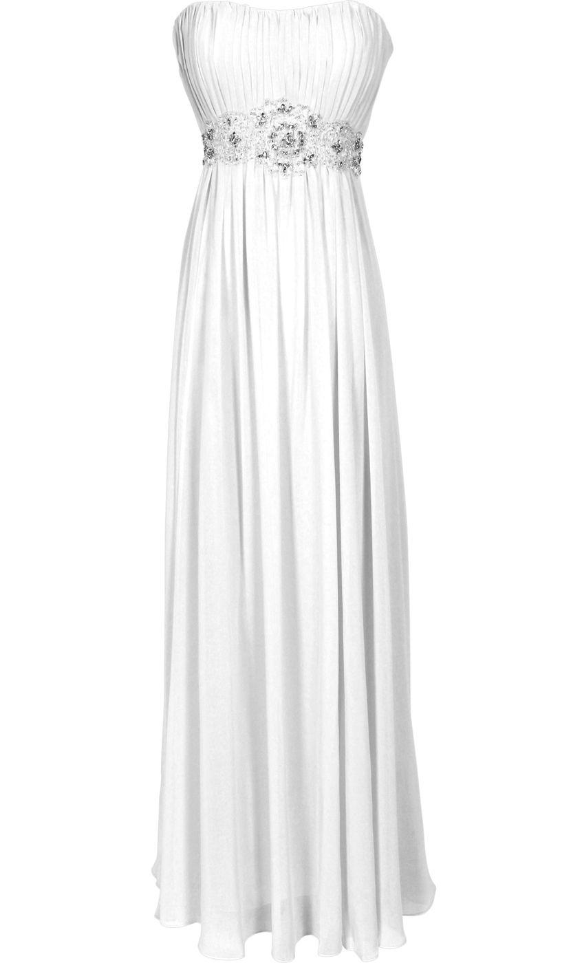 strapless chiffon goddess long gown prom dress formal