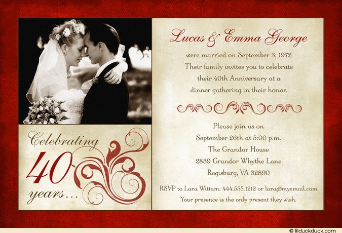 Surprise Wedding Anniversary Invitations: Wedding Anniversary Wording Ideas