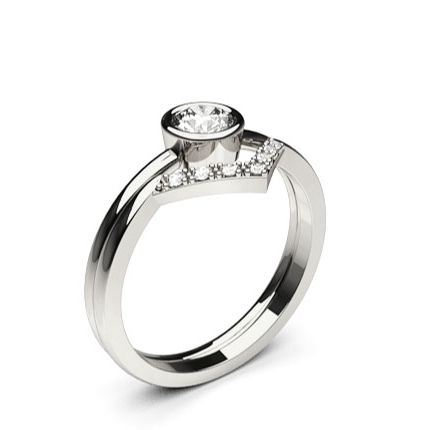 Buy Full Bezel Setting Studded Engagement Ring With Matching Band