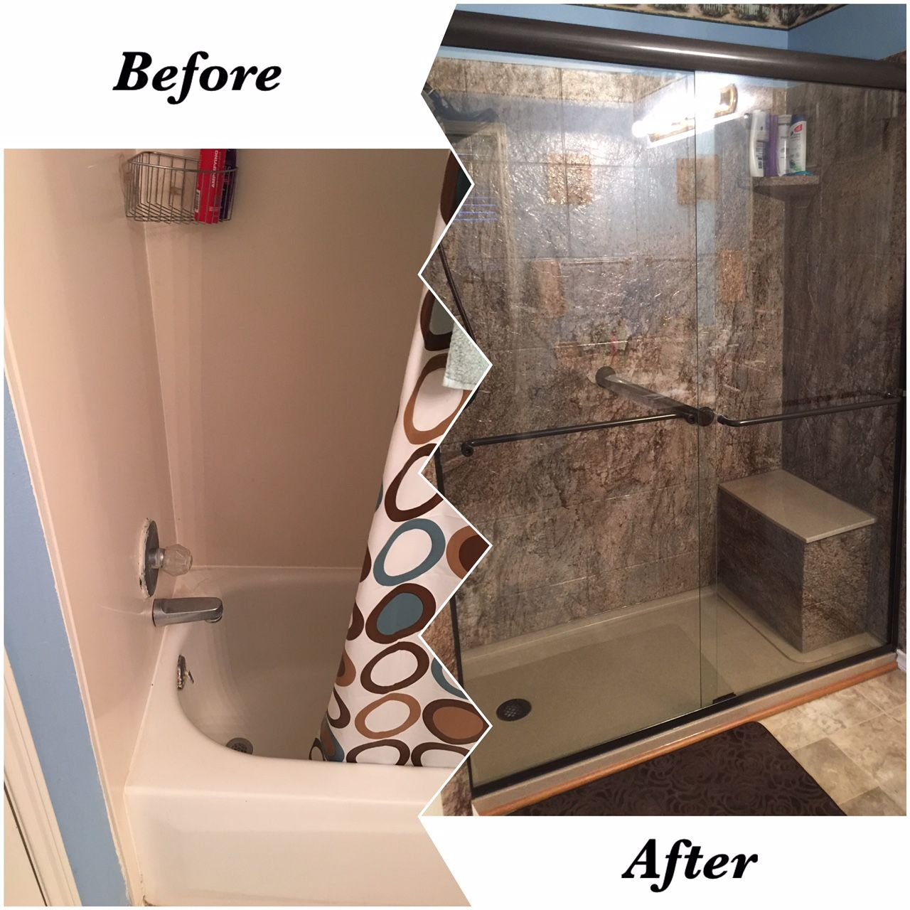 Vinyl walls for bathrooms - New Rebath 12 Slate Tahoe Granite Shower Wall System With Custom Onyx Bamboo Shower Base