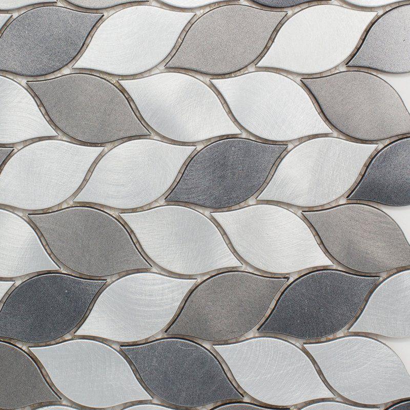 Leaf 12 X 14 Metal Mosaic Tile Metal Mosaic Tiles Stone Mosaic Tile Wall Tiles