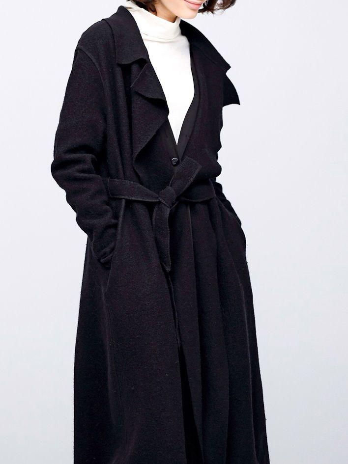 Simple Loose Black Wool Trench Coat - StyleWe.com