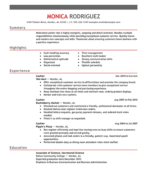 Cashier Resume Sample Unique Resume Examples For Cashier  Pinterest  Resume Examples And Template