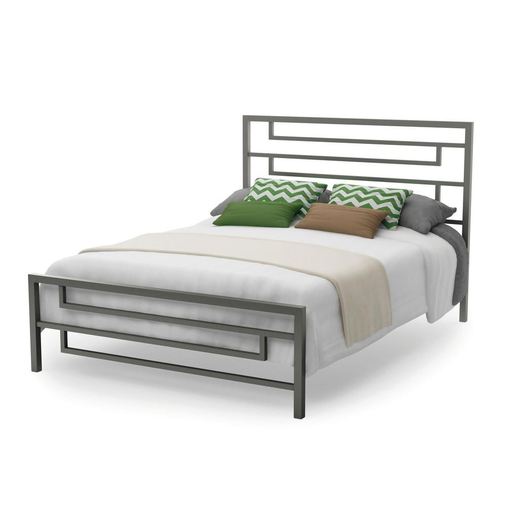 Amisco Temple Brown Metal Queen Size Platform Bed 14372 60p 75