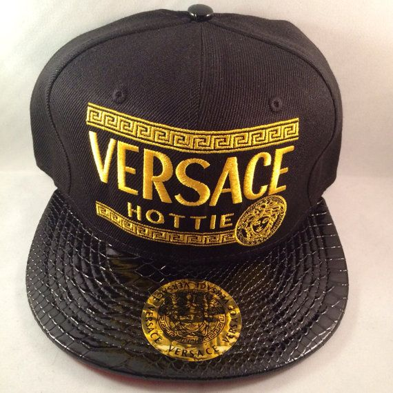 Gold and Black VERSACE HOTTIE snapback hat w  jet by KruppsKapps ... 9a560c7fc6f