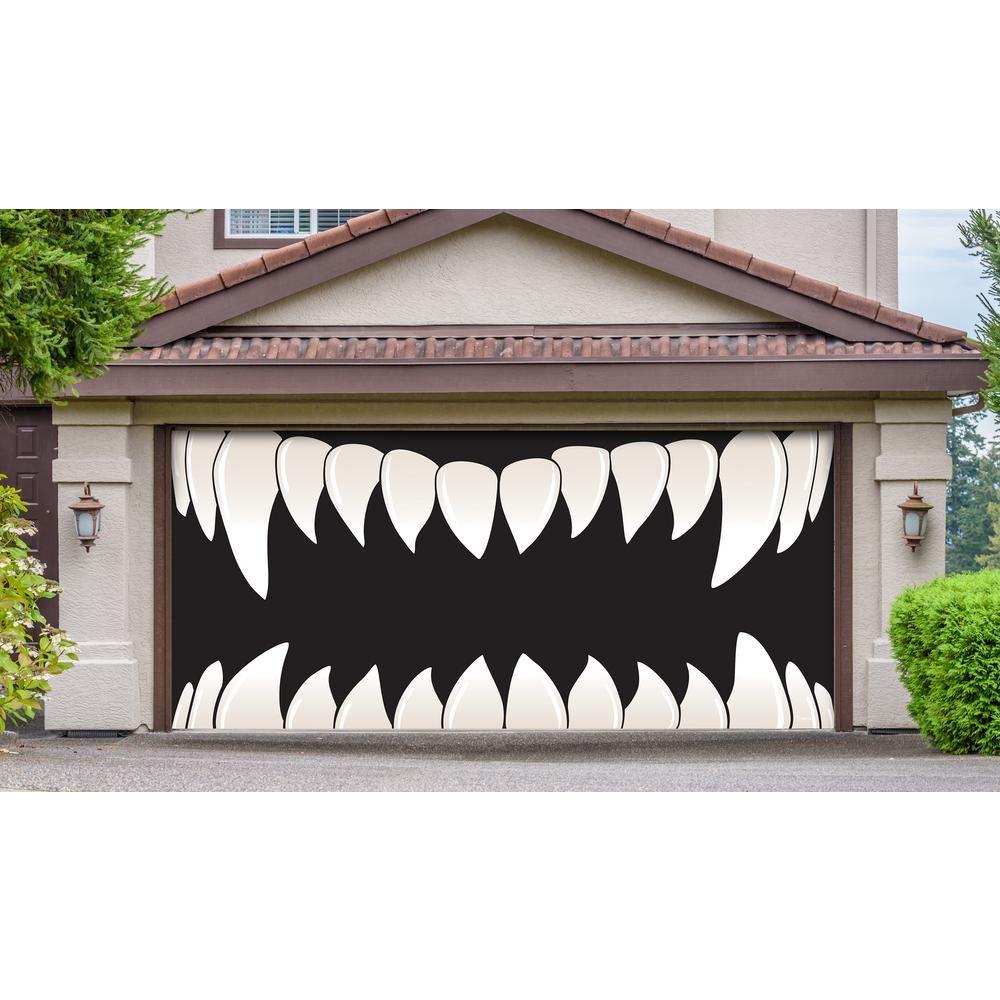 My Door Decor 7 ft. x 16 ft. Scary Teeth Halloween Garage