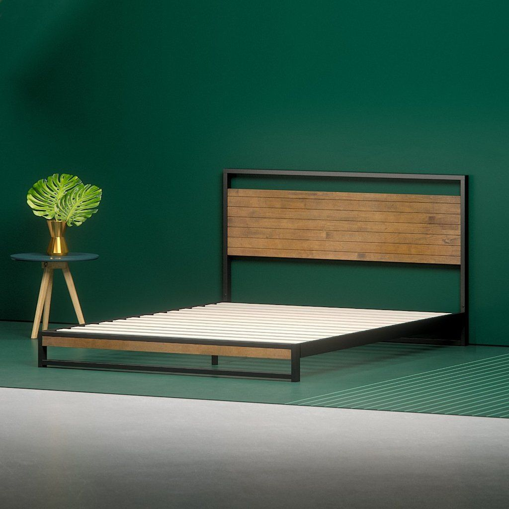 Suzanne Metal And Wood Platform Bed Frame Low Bed Frame Wood Platform Bed Wood Platform Bed Frame