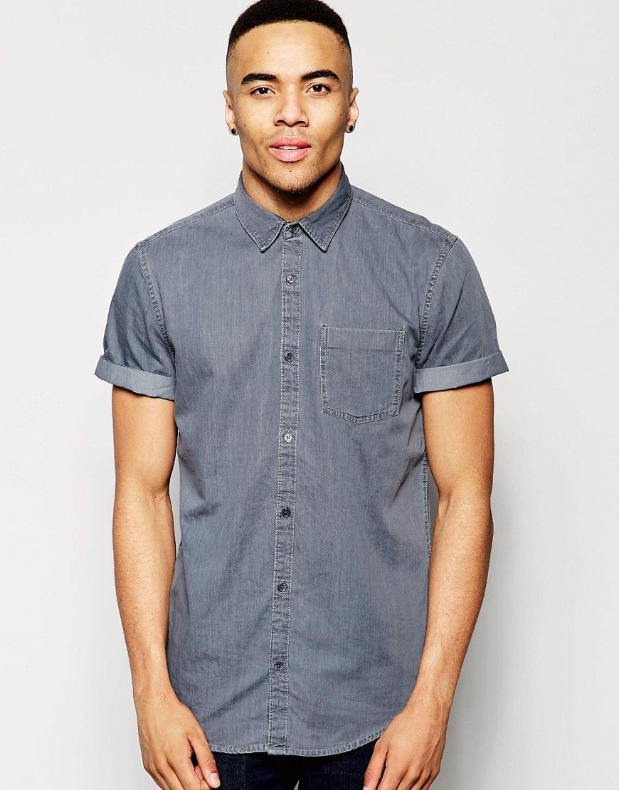 Image 1 ofNew Look Shirt With Short Sleeves In Grey Denim In Regular Fit