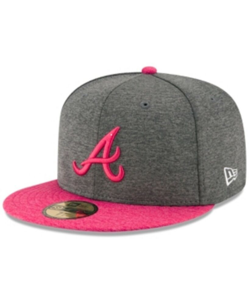 19e57810 New Era Atlanta Braves 5950 Graphite/Fuchsia Mother's Day Fitted Hat Size 7  5/8 #NewEra #AtlantaBraves