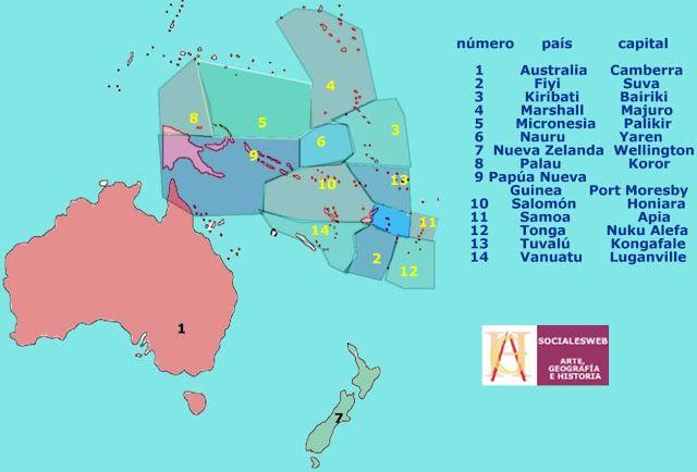 Mapa poltico de Oceana  Mapas  Pinterest