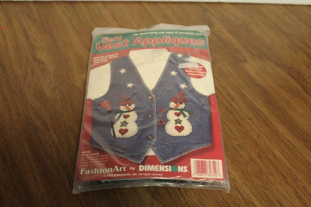 Fashion Art Dimensions Felt Vest Appliques Snowmen Iron On #Dimensions