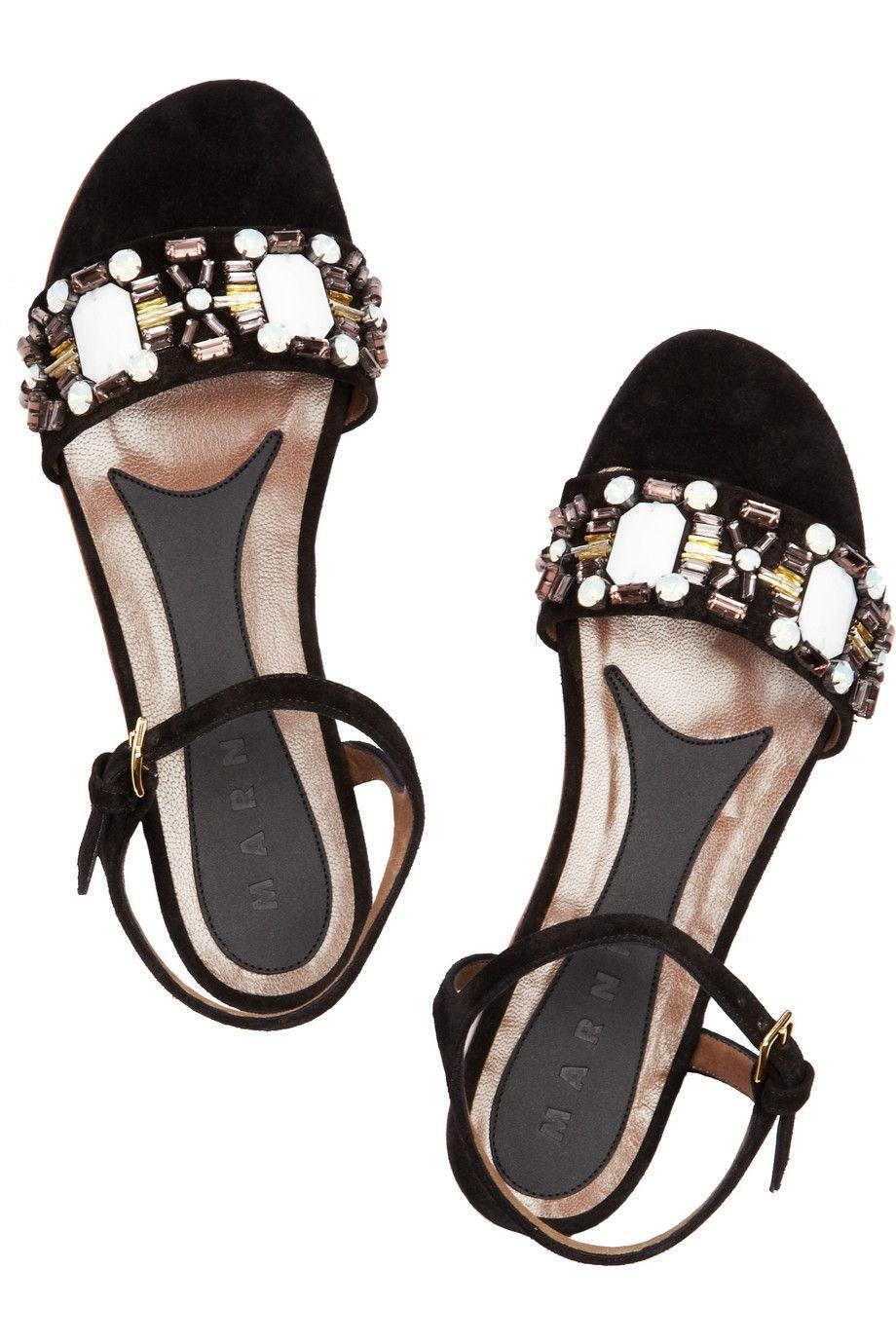 MARNI  Crystal-embellished suede flat sandals