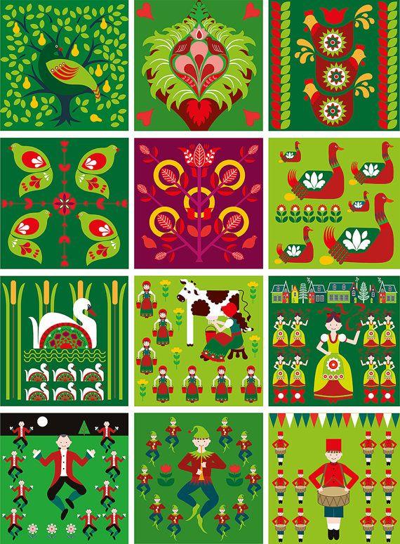 12 Days Of Christmas Folk Style Art Print By Natalieasingh On Etsy Christmas Prints Christmas Illustration Christmas Art