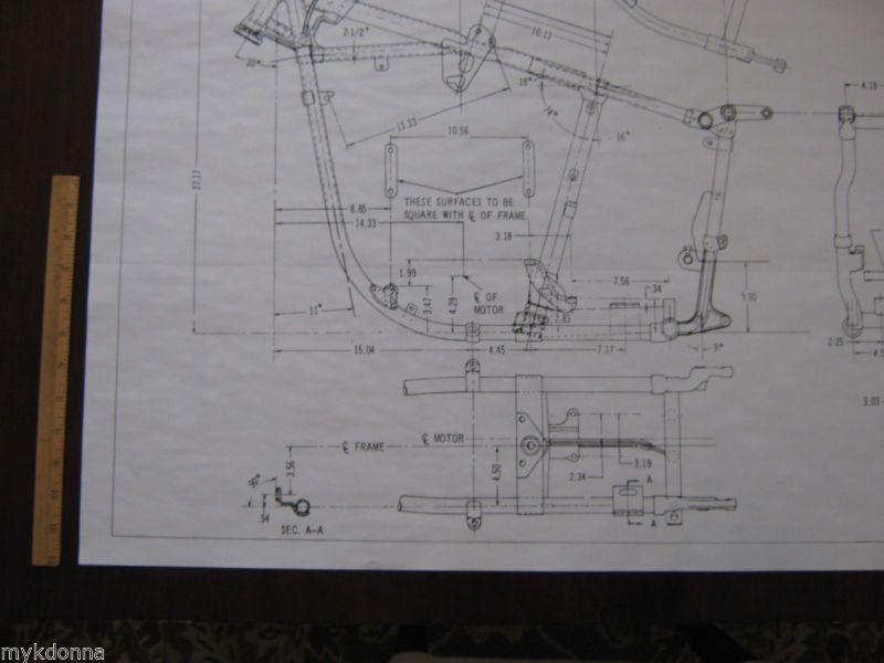 HARLEY DAVIDSON Pan Head 1958-64 Frame Blueprint Drawing poster - copy blueprint design & draft