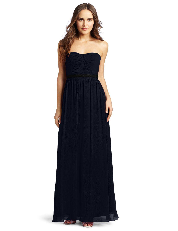 Amazon.com: BCBGMAXAZRIA Women\'s Amber Cascade Strapless Long Gown ...