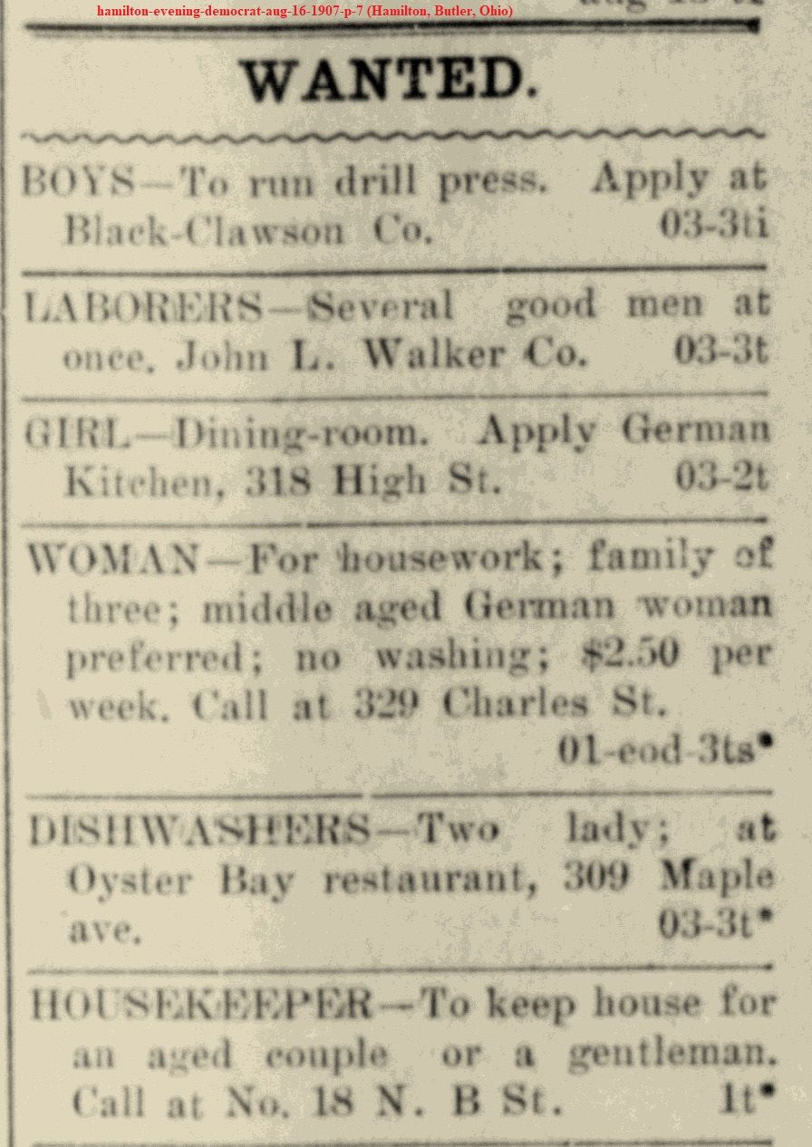 Help Wanted Ads In Hamilton Ohio Newspaper In 1907 Help Wanted