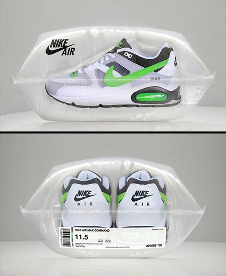 Nike Air | Pillow filled with air protects the shoes and replaces  traditional shoe box