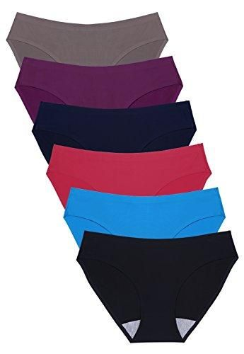 f0957a3546f5 Wealurre Seamless Underwear Invisible Bikini No Show Nylon Spandex Women  Panties(R,M)