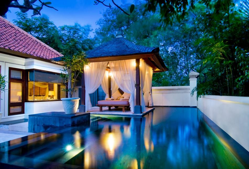 Pool villa at night
