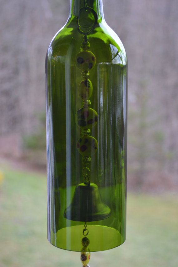 Wine Bottle Wind Chime/Heart Wind Chime | Bottle, Wine and Beads