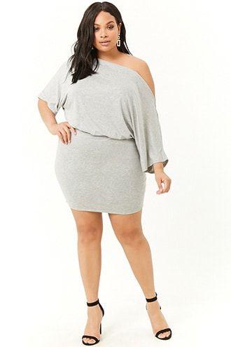 6f0e024979e03 Plus Size Off-the-Shoulder Blouson Dress