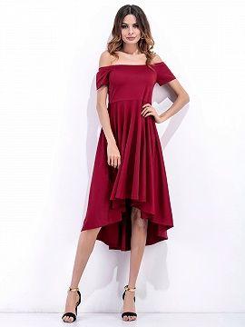 6accdfafa31 Burgundy Off Shoulder High Waist Dipped Hem Dress