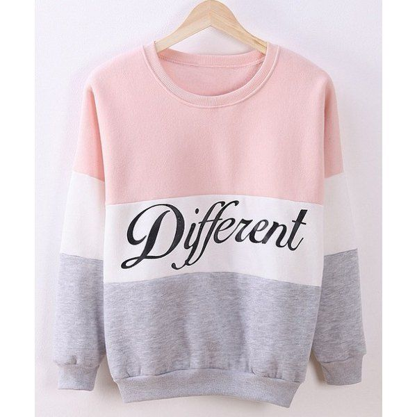 Preppy Style Round Neck Color Block Letter Print Long Sleeve