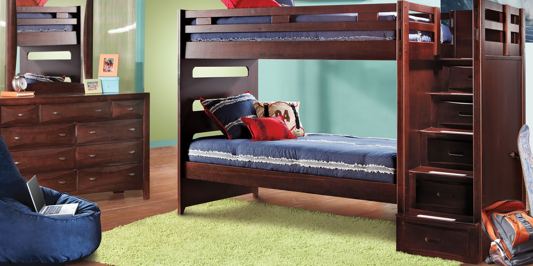 Ivy League Cherry Twin Twin Step Bunk Bed Bedroom Sets Bedroom