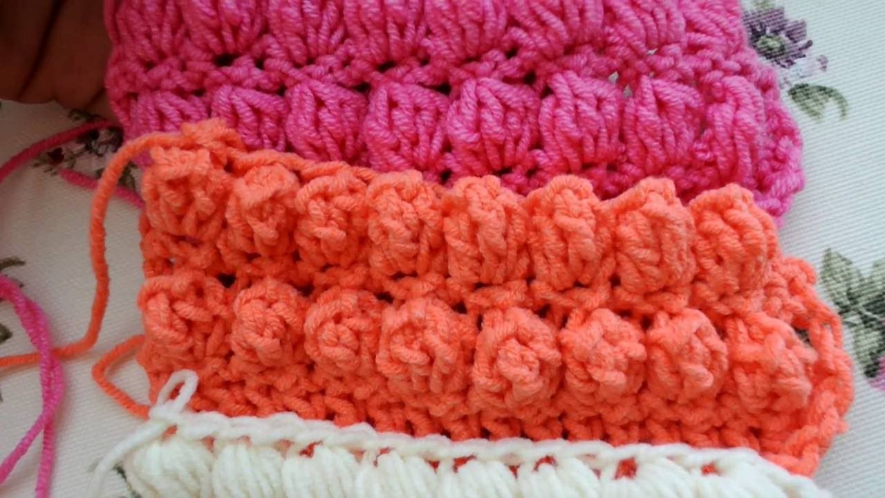 How To Make Puff Bobble And Popcorn Stitches Crochet And Knitting