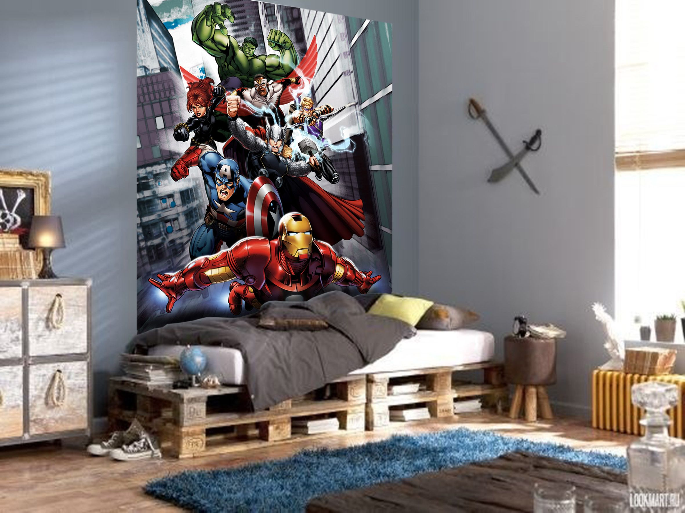 Iron man and avengers wall mural by wallandmore marvel for Avengers wallpaper mural
