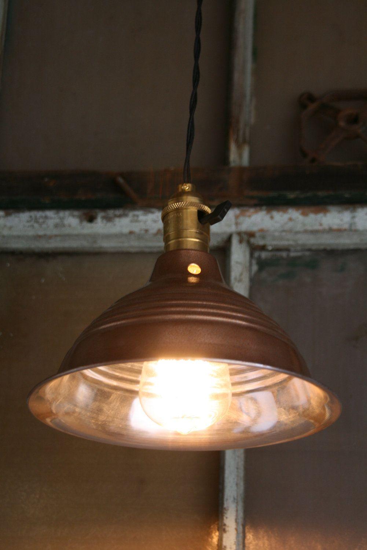 Set of industrial copper finish hanging pendant lights