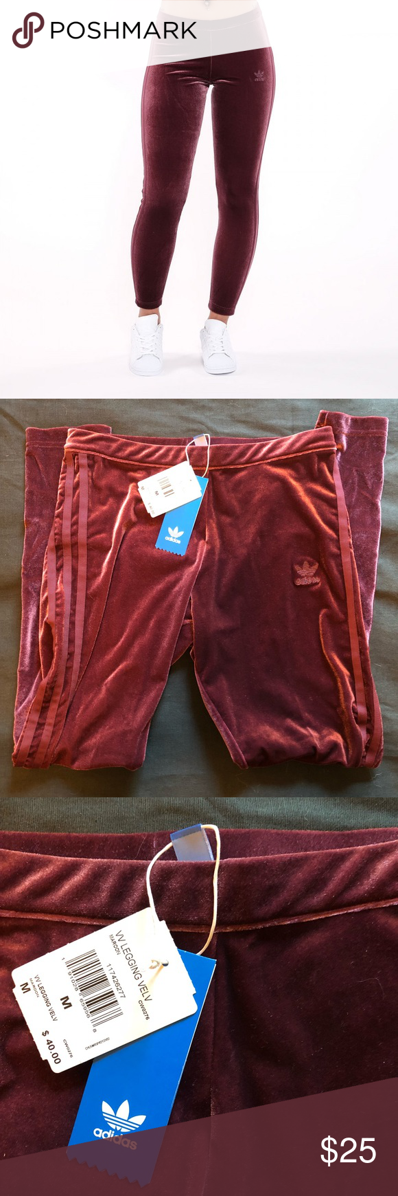 5422c008873b53 NEW Adidas Velvet Vibes leggings in Maroon MEDIUM New with tags! True to  size.