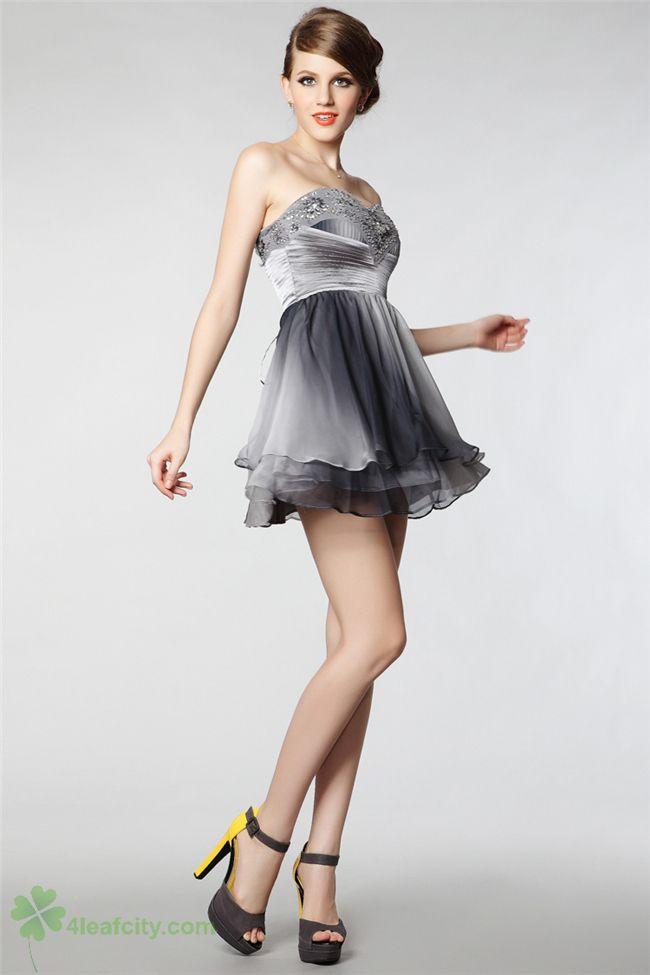 GUOISYA Gradient Grey Sweetheart A-line Empire Mini Short ...