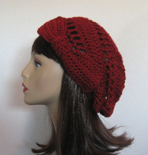 Crochet Slouchy Hat with Bow Beanie Cap Beret Maroon Dark Red ...