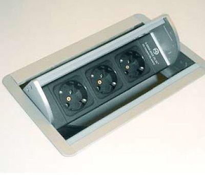 Evoline FlipTop Energiestation versenkbar 3 Steckdosen Küche - versenkbare steckdosen k che