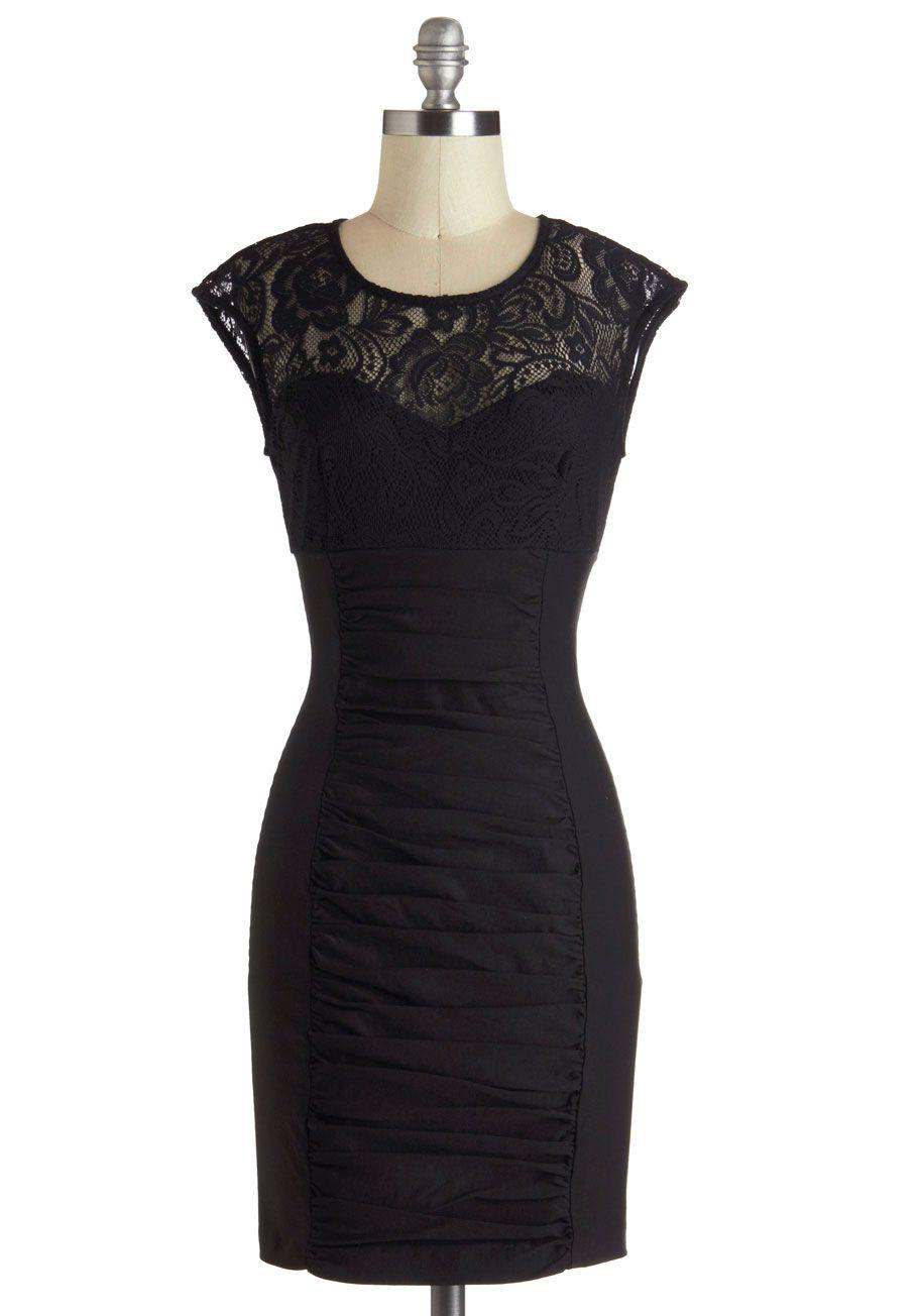 Black Lacy Cocktail Dress Vintage Dresses Mod Cloth Dresses Lace Top Dress [ 1304 x 913 Pixel ]