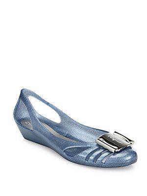 147b8ee246a Salvatore Ferragamo Glitter Bermuda Jelly Flats - Lagoon - Size Jelly Shoes