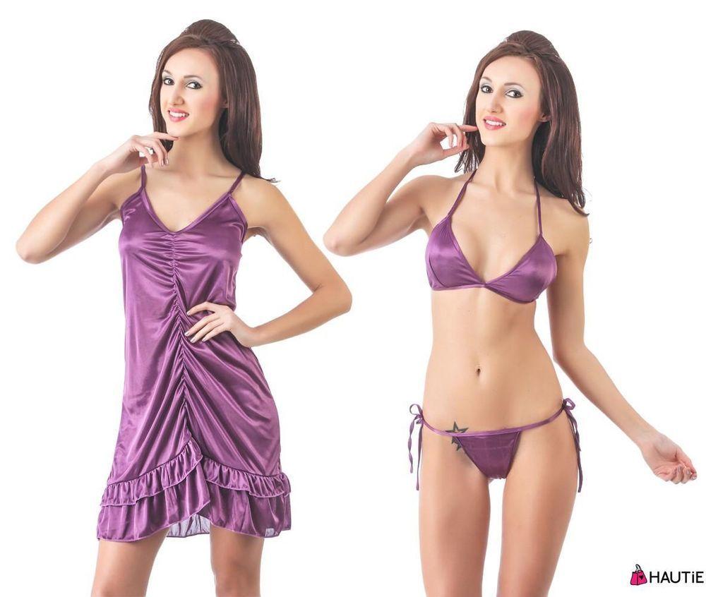 66d677901b HOT SEXY EXCLUSIVE 3 PIECE SATIN NIGHTIE CHEMISE NIGHTDRESS SLEEPWEAR in  Clothes