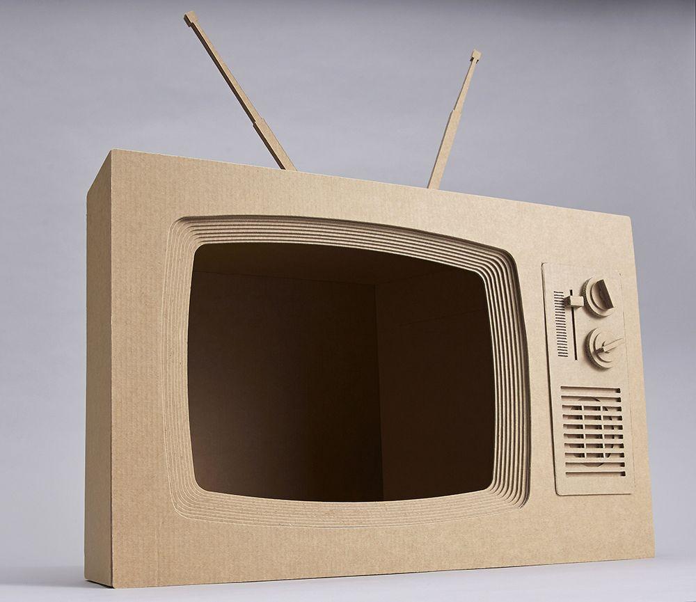 Retro Cardboard Tv Cardboard Crafts Cardboard Art Diy Cardboard