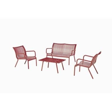 Banc de la collection Ben en aluminium rouge. | Deco terrasse | Banc ...
