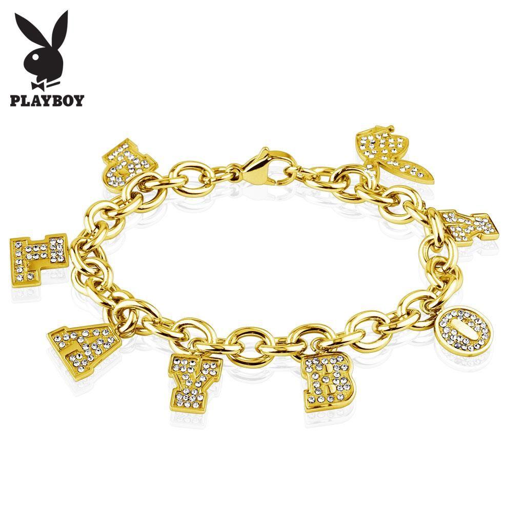 Playboy Clear Gems Gold IP Charm Bracelet, Women\'s | Everything ...