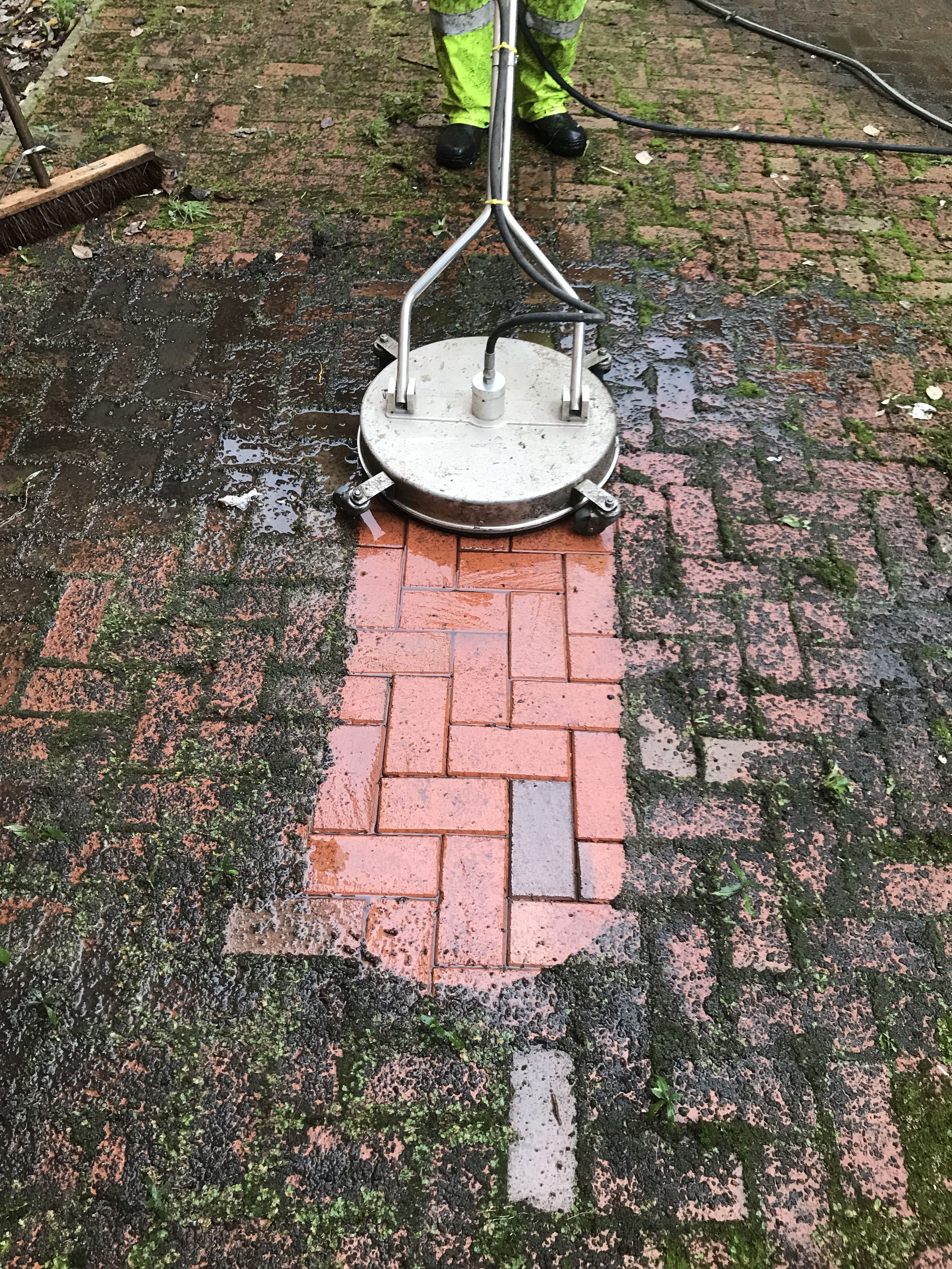Before and after our machine tackles block paving cleaning
