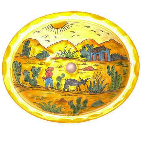 Traditional Mexican Sink-Burro Y Cactus