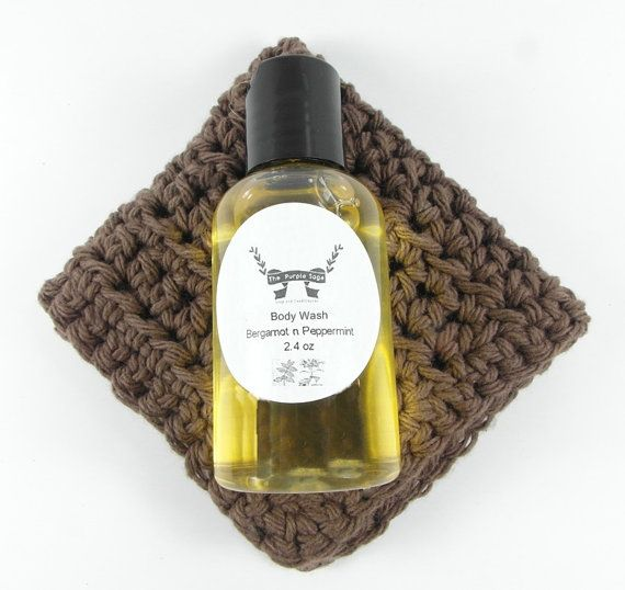 Liquid Body Soap and Facial Cloth Gift Idea by PurpleSage7 on Etsy